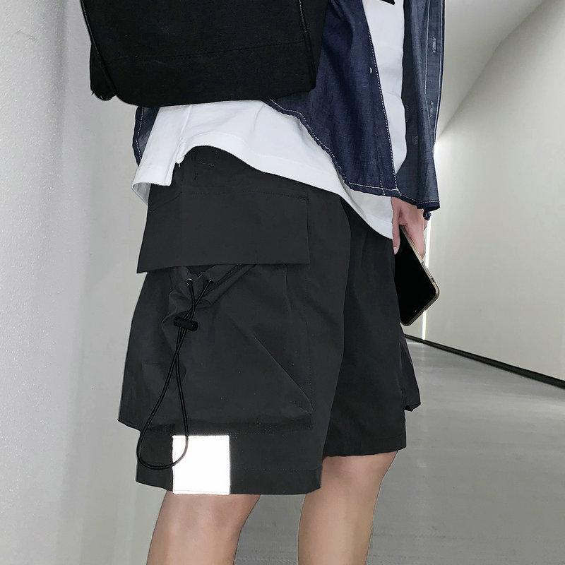 Streetwear Summer Casual Shorts Men Side-pockets Bermuda Hip Hop Cargo Shorts Knee Length Black Reflective Men's Shorts