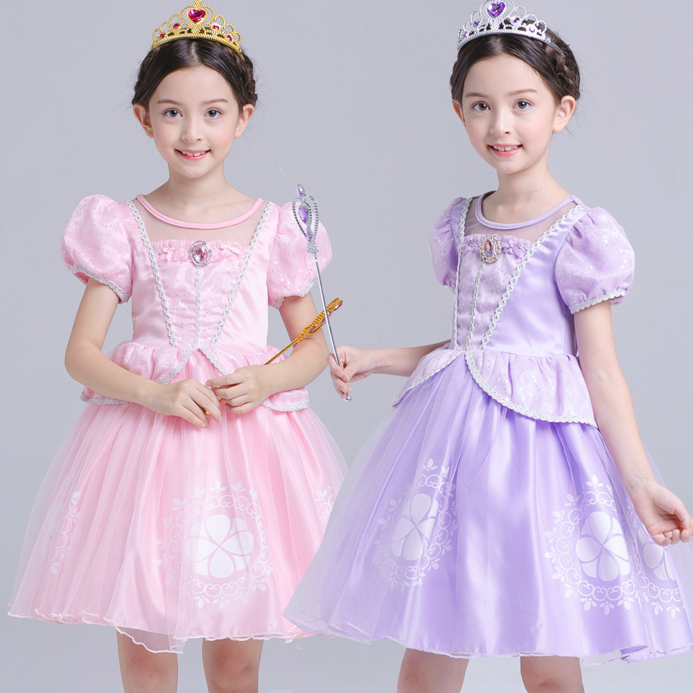 christmas Sofia Princess Dress Kids Girls Sleep beauty Sophia Party Dresses Child Girl Aurora baby clothes vestido Party dress new 2016 frozen sofia princess fluffy dress big petals princess sophia free shipping spring autumn girl dress 3 7t wholesale