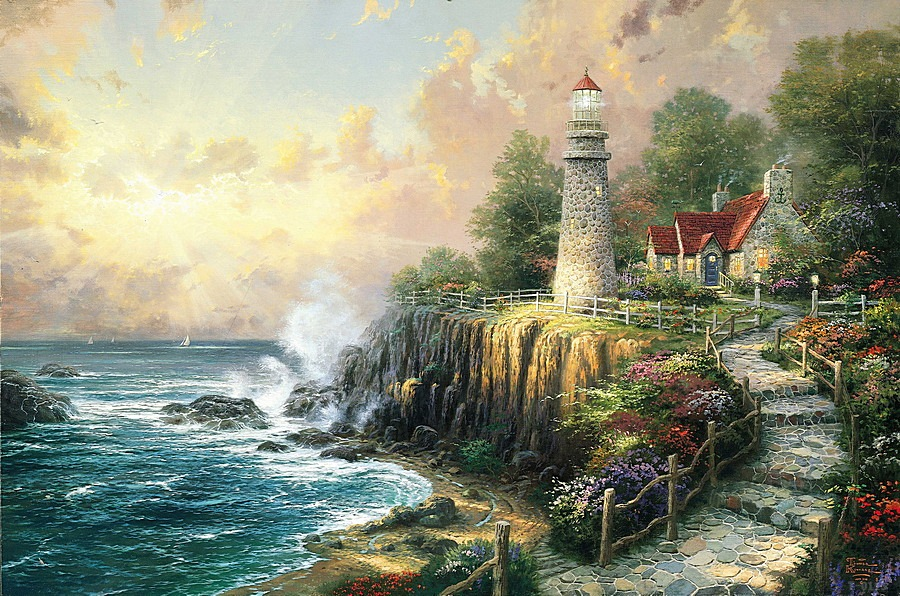 Thomas Kinkade Fall Wallpaper Aliexpress Com Buy Thomas Kinkade The Light Of Peace