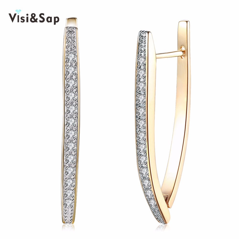 Visisap V Shape Shining Cubic Zirconia Hoop Earrings For Women Girls Gifts Earring Fashion Jewelry Champagne Gold Color VKZCE127