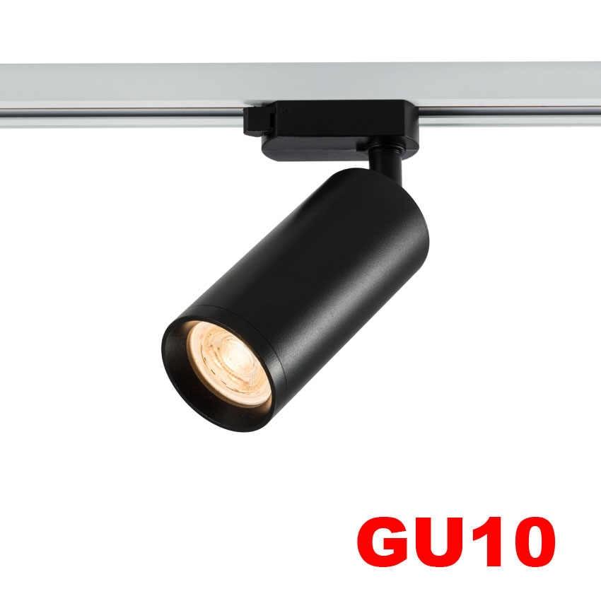 1 шт. светодиодный Трековый светильник GU10 железнодорожных прожекторы лампы светодиодный s передвигаемый светильник Точечные светильники лампы для магазина шоу-рум регулируемый 1 фаза