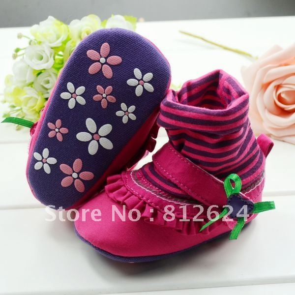 New Gift for  New Life ,High-Top Style Infant shoe,Baby Shoe,Prewalker shoes  for Baby girl ,6 pairs/lot ,Free shiping.