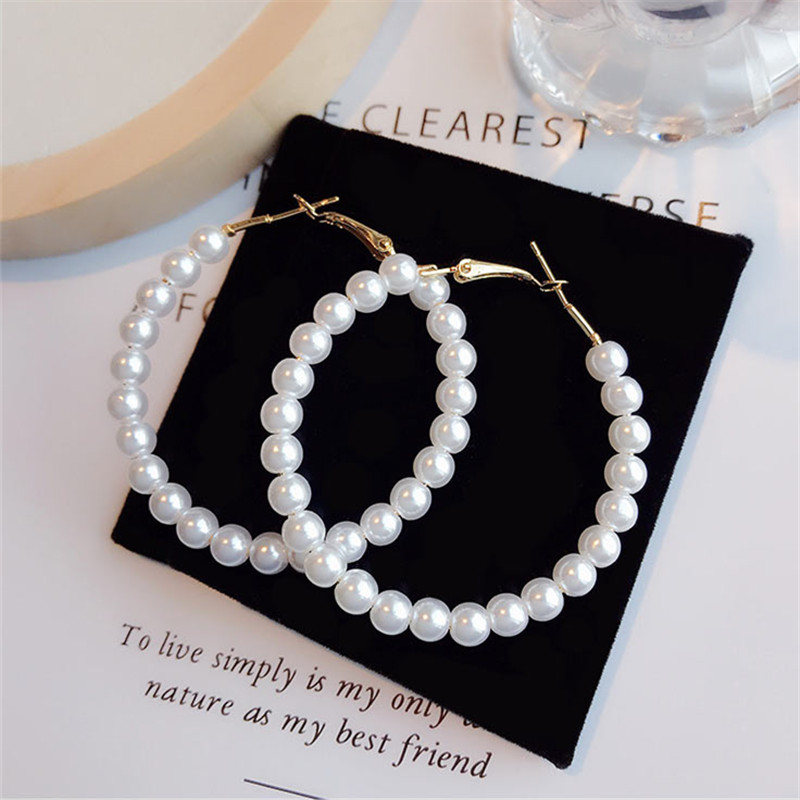 Bold Pearls Exaggerated Large Circle Earrings Trendy Elegant Created Big Simulated 6mm White Pearl Long Gold Earrings For Women