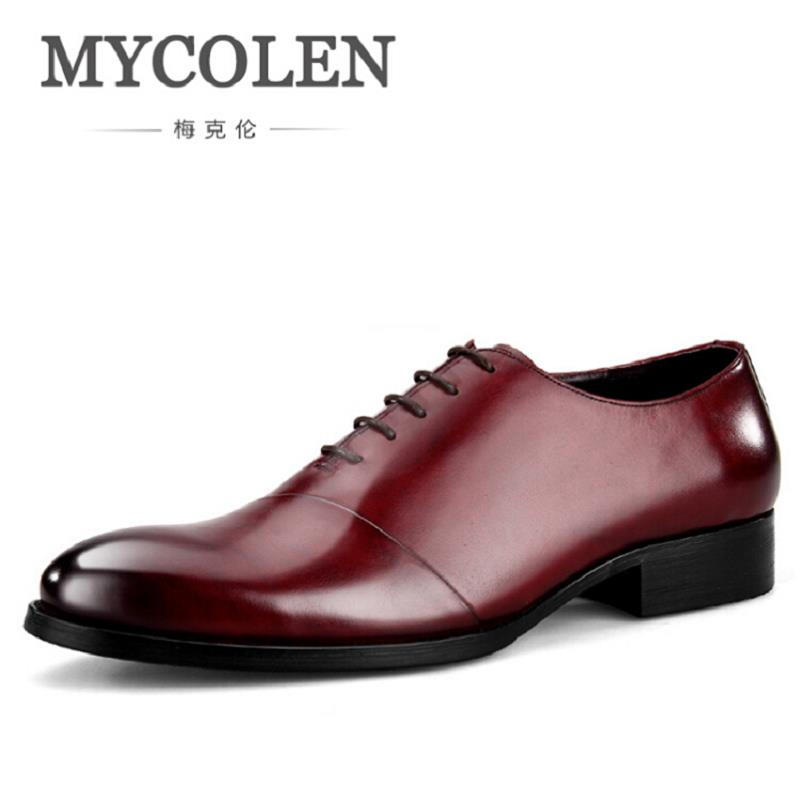 MYCOLEN Men Dress Shoes Genuine Leather Italian Fashion Business Leather Shoes Men Black Oxford Shoes Tenis Masculino Adulto