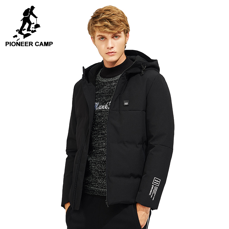 Pioneer Camp hooded winter warm down jacket men brand clothing fashion thick duck down coat male quality grey black AYR705306