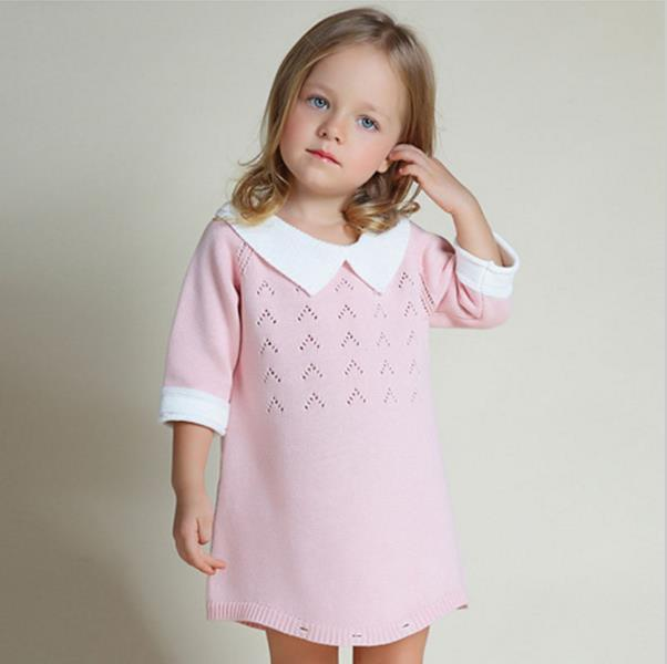 New Kids Sweater Dresses Turn-neck Girls Sweater Baby Bodysuit Infant Clothing Jumpsuit For Autumn Spring 6M-4Y AS-1577