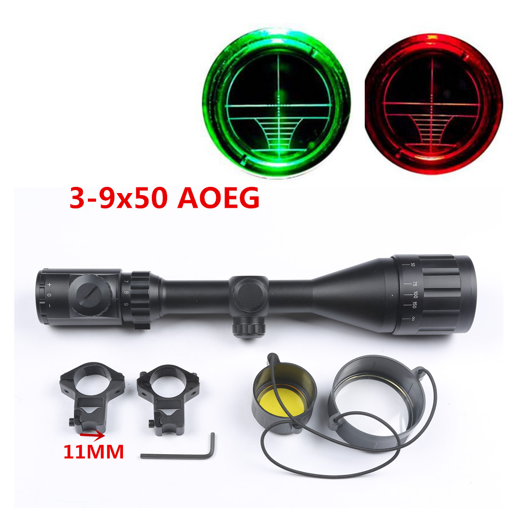 Hunting 3-9x50 AOE Rifle Scope Red Green Dot Mil-dot Illuminated Reticle Scope Optical Gun With 11mm Rail Scope Mount Base caza m9 3 10x42 mil dot reticle red green illuminated sight rifle scope with red laser for airsoft hunting caza 20mm 11mm mount rail