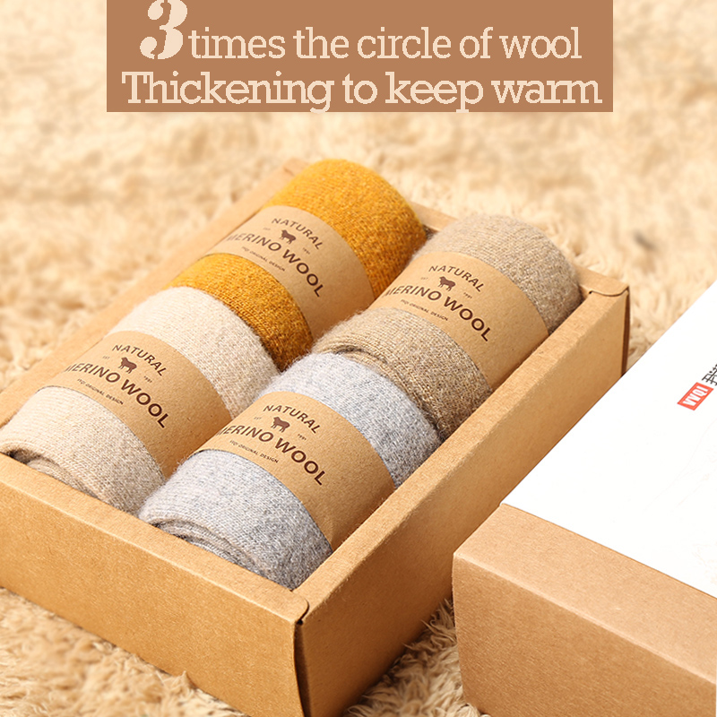 VVQI women Merino wool   socks   brand   socks   Japanese style thick winter warm cashmere   socks   tube slippers   socks   Simple style crew