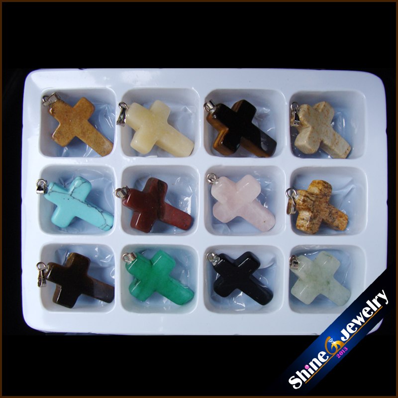Wholesale 12 pcs 18x25x5 mm Mix Cross Necklace Pendants Natural Stone Beads in Box Specimens Crucifix fit Jewelry Making -HSY03