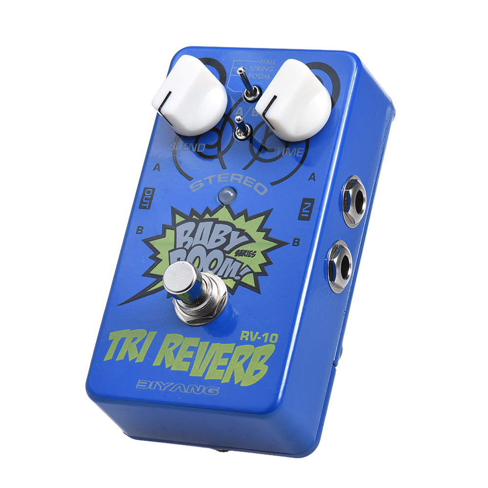 BIYANG RV 10 Stereo Reverb Guitar Effect Pedal BABY BOOM Series 3 Modes True Bypass Full