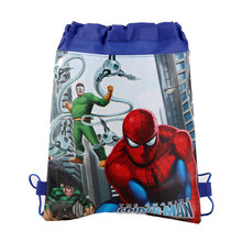 34*27cm Boys Kids Favors Spiderman Pattern Drawstring Gifts Bags Non-woven Fabric Backpack Birthday Party Decorate Mochila 1PCS(China)