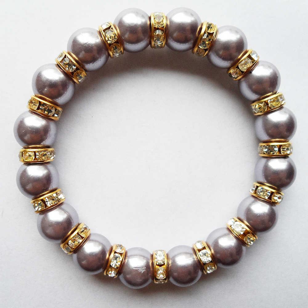 Di modo 2019 del nuovo ufficio/carriera Luce viola 10mm Della Perla della coclea braccialetto, 10 millimetri perline corda catena bracciale fine di quantità