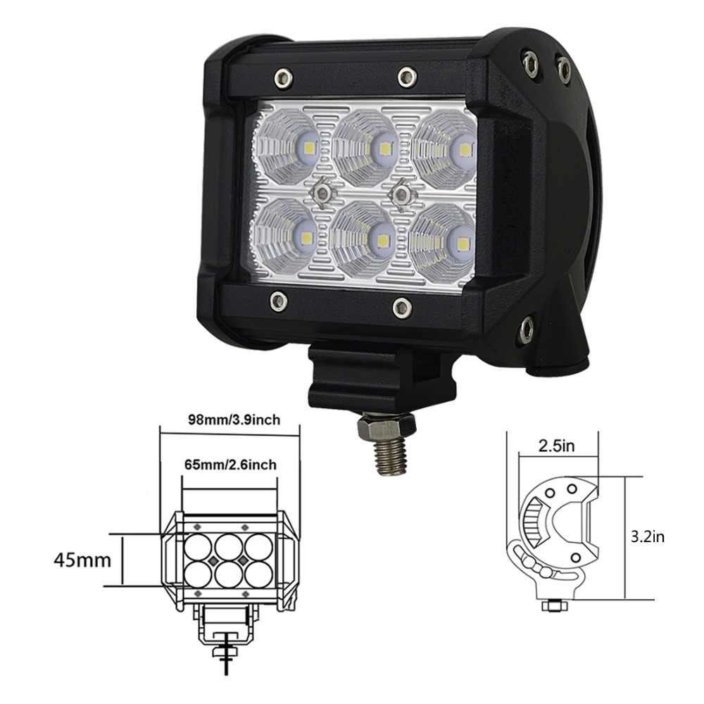 """2 قطعة مصباح ليد سيارة بار 18 واط العمل مصباح إضاءة للضباب LED 4 """"بوصة دراجة نارية جرار قارب قبالة الطريق 4WD 4x4 شاحنة SUV ATV 12 فولت 24 فولت"""