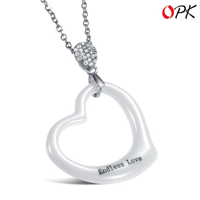 OPK JEWELRY Christmas Gift Box Packing!! Delicate Endless LOVE Heart Pendent White Ceramic Necklace For Women, Never Fade 817