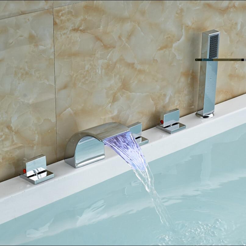 led luce tripla maniglia valvola di ceramica miscelatore vasca da bagno rubinetti diffuso cascata vasca da