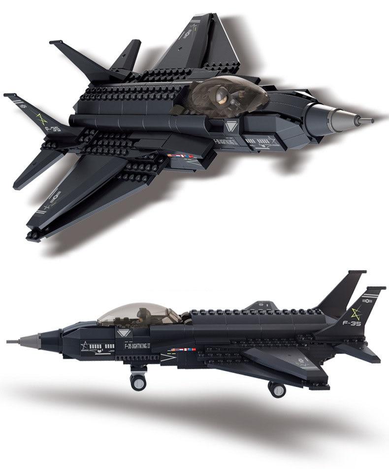 Zīmola 252gab. Celtniecības bloki DIY radoši ķieģeļi F-35 cīnītājs simulācijas modelis Bērnu rotaļlieta zēnu dāvanai