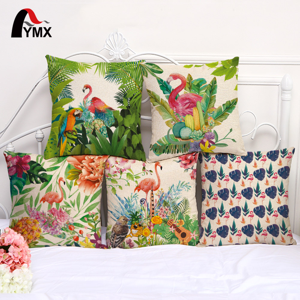 Tropical Plants Cushion Cover Creative Flamingo Cotton and Linen Pillow Case Home Decoration Pillowcase For Sofa Cushion Cover