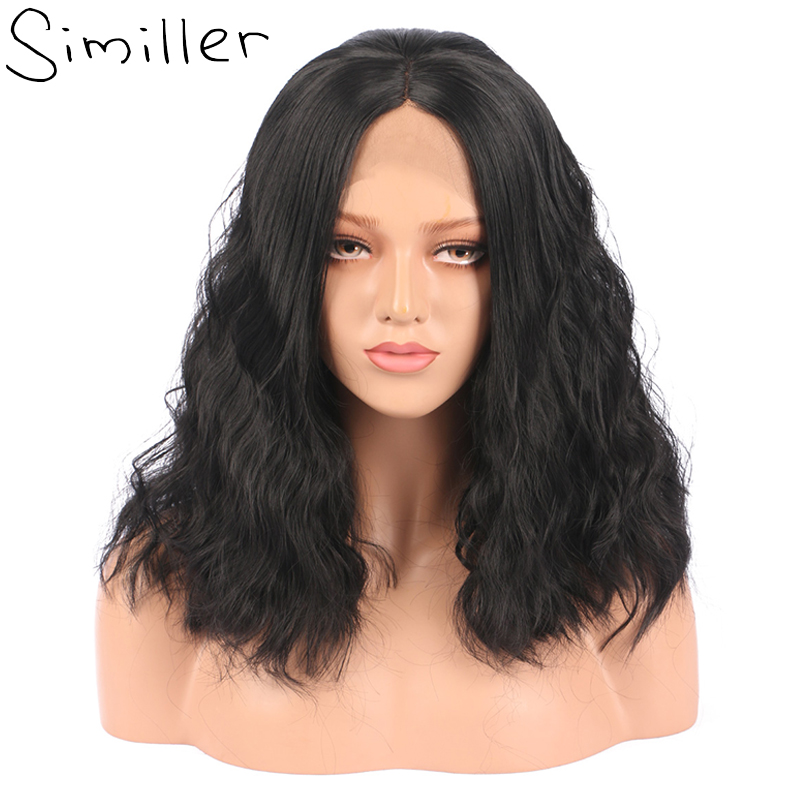 Synthetic None-lacewigs Painstaking Similler Women Short Heat Resistant Hair Black Hand Tied Water Wave Synthetic Lace Front Wigs For Holiday Gift