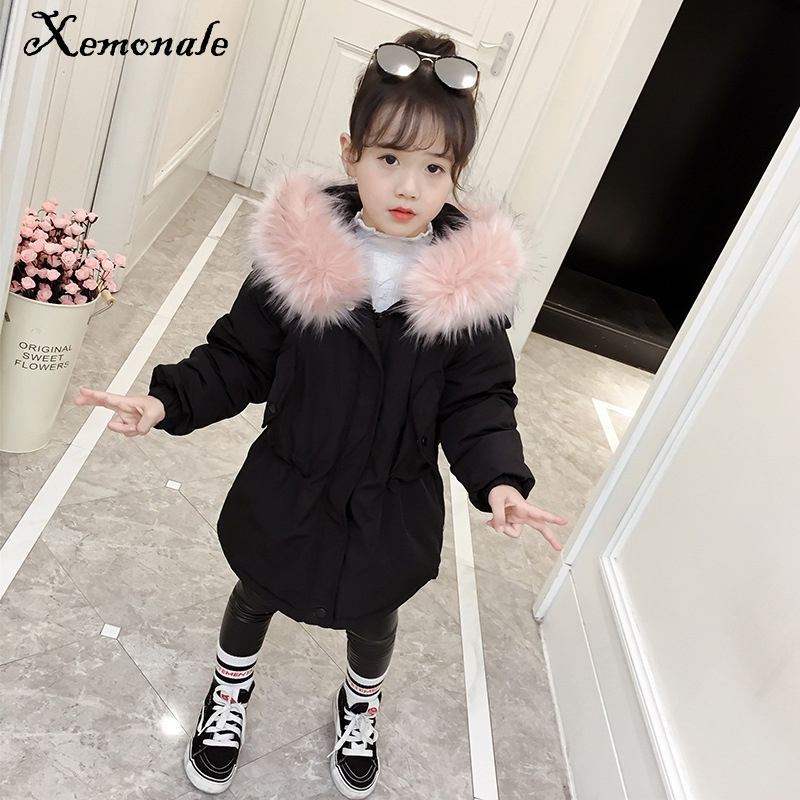 Xemonale Childrens Clothing 2018 Winter New Children Thickening Cotton Jacket In The Childrens Fur Collar Clothes Girl Warm Coat sky blue cloud removable hat in the long section of cotton clothing 2017 winter new woman
