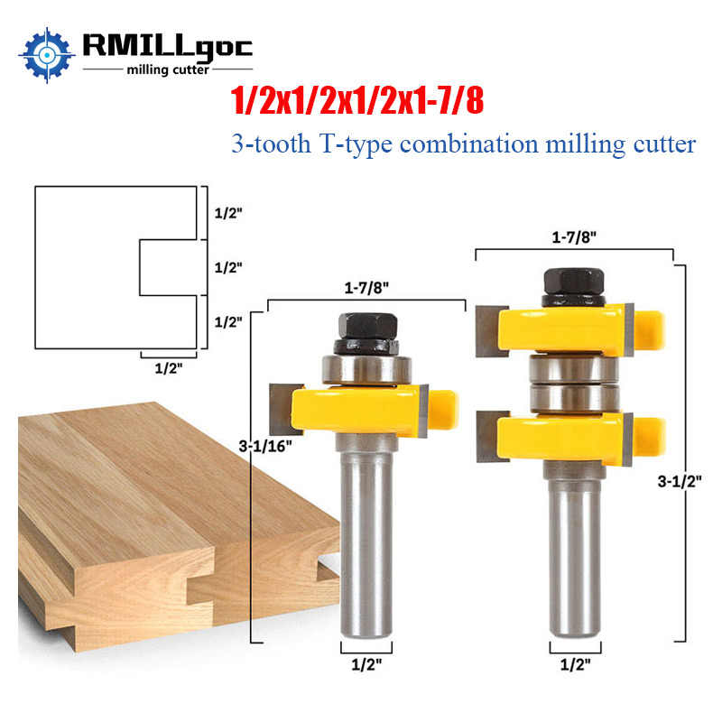 2pcs Tongue & Groove Router Bit Set with1/2 Inch Shank T Shape Wood Milling Cutter Woodworking Tools For Doors,Drawers,Shelves