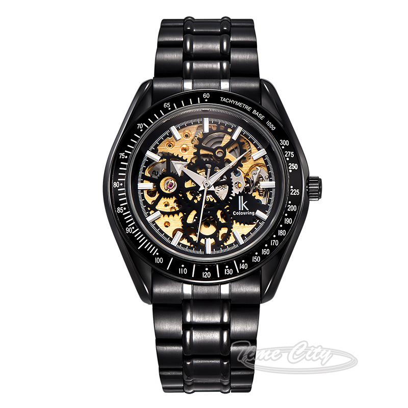 Black Silver Super Glow IKcolouring Men Self Wind Automatic Mechanical Watch Skeleton Hollow Steel Strap Fashion