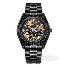 Black Silver Super Glow IKcolouring Men Self Wind Automatic Mechanical Watch Skeleton Hollow Steel Strap Fashion