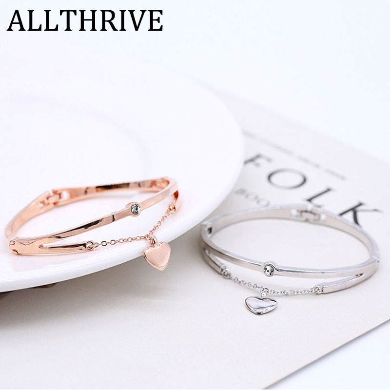 Love Cuff Bracelets Bangles for Women Girl Rose Golden Silver Color Crystal Jewelry Smooth Alloy Heart Pendant Charm Accessories