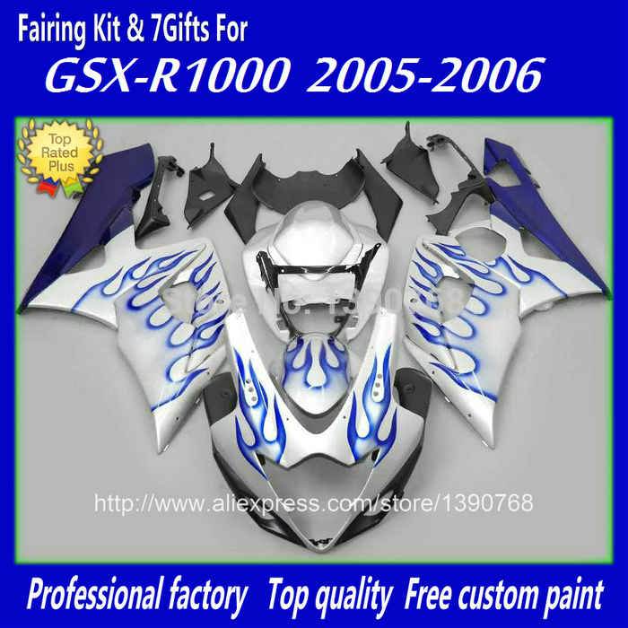 High quality fairing kit for Injection mold SUZUKI 2005 2006 GSXR 1000 05 06 K5 K6 GSXR1000 blue flames silver fairings set NJ93 injection mold custom for 2005 suzuki gsxr 1000 fairings k5 2006 gsxr 1000 fairing 05 06 glossy dull red with black dw10