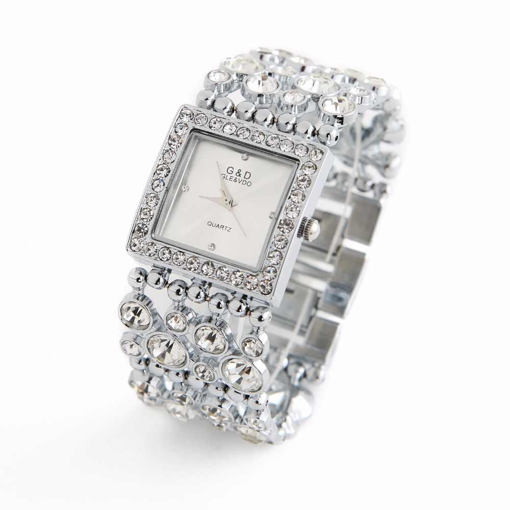 2018G & D Luxus Marke frauen Armband Uhren Diamant Silber Damen Kleid Uhr Quarz Armbanduhren relogio feminino Uhr geschenk