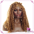Gold Curly Synthetic Lace Front Wigs Glueless Wig with Baby Hair Heat Resistant Fibers Hair Wig