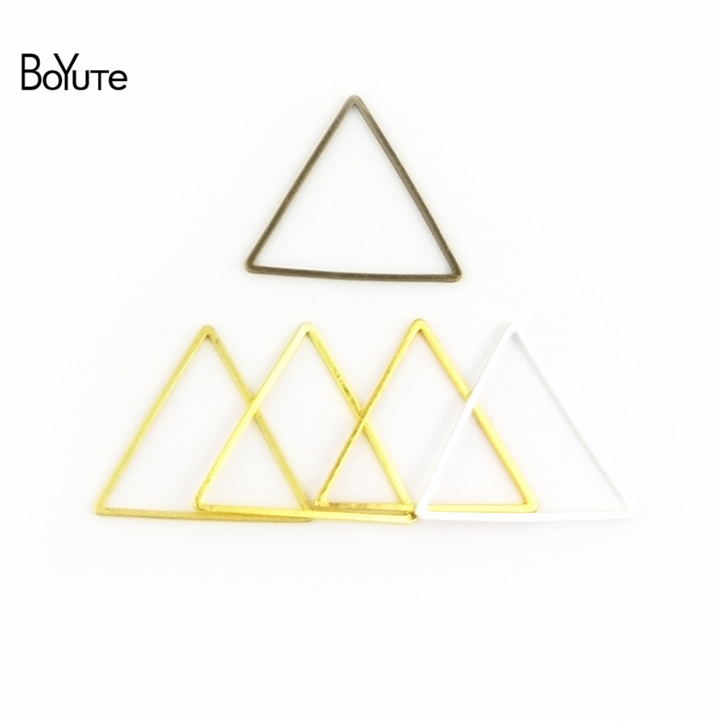 BoYuTe 100Pcs 15MM 17MM 20MM 24MM 29MM Metal Brass Geometric Triangle Connector Charms 4 Colors DIY Jewelry Findings Components