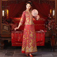High Quality Rhinestone Bride Wedding Qipao Vintage Chinese Lady Marriage Cheongsam Suit Red Embroidery Phoenix Dress Gown