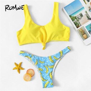Romwe спортивный милый комплект бикини с цветными блоками бикини без косточек с банановым принтом, женские летние пляжные купальники с глубок...