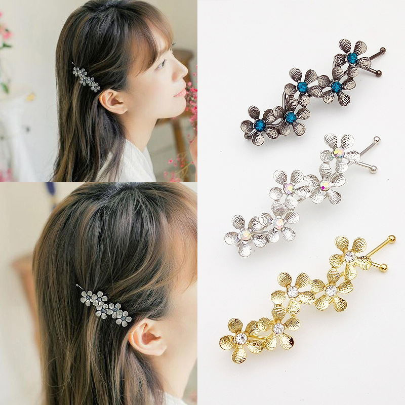 New Flower Rhinestone Women Hair Accessories Plum Floral Hair Clip Girls Hair Pins Sweet Wedding   Headwear   Silver Gold Barrette
