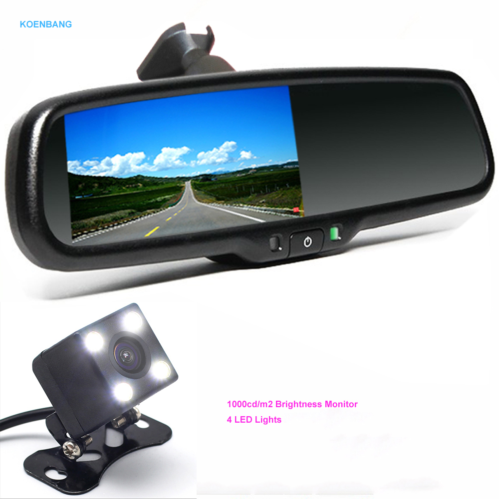 KOENBANG 4.3 Car Rearview Mirror 1000cd/m2 Monitor Rear View Camera TFT-LCD Video Parking Kit 4 LED Night Vision Reversing Car 2 4ghz wireless 4 3 car vehicle rearview mirror monitor w 7 led night vision camera pal ntsc