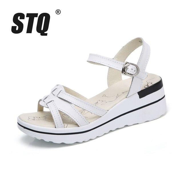 04f95488c0ae5 STQ 2017 women platform sandals genuine leather wedge Sandals Summer ladies  Open toe thick sole high heel women sandals 3535