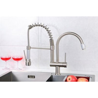 Water Mixer Sink For Kitchen Brushed Solid Brass Kitchen Sink Faucet Tap Mixer Kitchen Water Tap Torneira Cozinha Parede