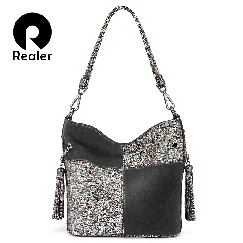 Realer women handbag genuine leather ladies cross body shoulder bag patchwork high quality messenger bag female