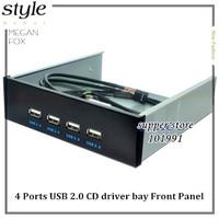 New 4 Ports USB 2.0 Front Panel HUB Combo Adapter Bracket USB2.0 Bay Internal with 15 pin SATA Power Cable 5.25 CD driver bay