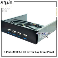 New 4 Ports USB 2.0 Front Panel HUB Combo Adapter Bracket USB2.0 Bay Internal with 15 pin SATA Power Cable 5.25 CD driver bay
