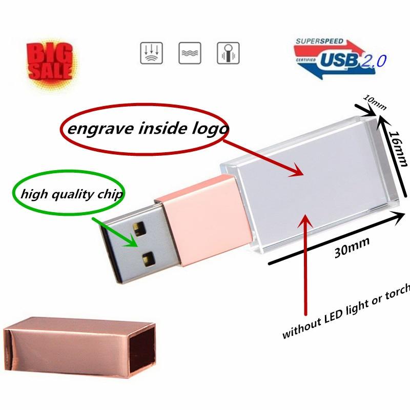 Pen-Drive Flash-Stick Memory Crystal Rose-Gold Pink Elegant Free-Logo-Fee Usb-2.0 New