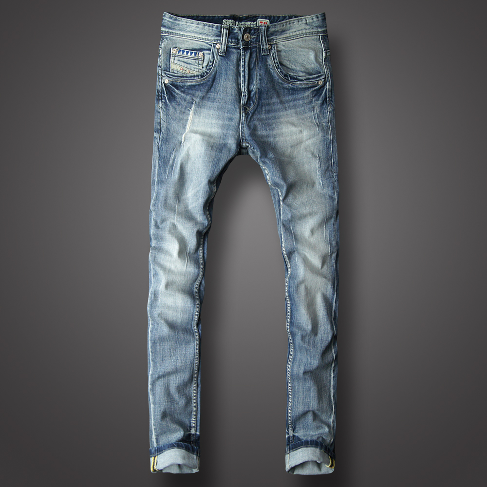 Italy Style Fashion Men Jeans Light Blue Slim Fit Destroyed Ripped Jeans Men  Elastic Hip Hop Pants hombre Classical Jeans homme f49ac6f95