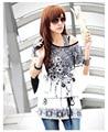2015 летняя мода новый Корейский новой модели Крупных Женщин Размер Рубашка С Коротким рукавом Футболки от имени цветы