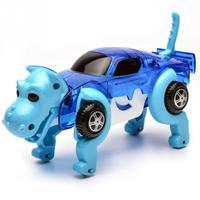 4 Colors 14CM Cool Automatic Transform Dog Car Vehicle Clockwork