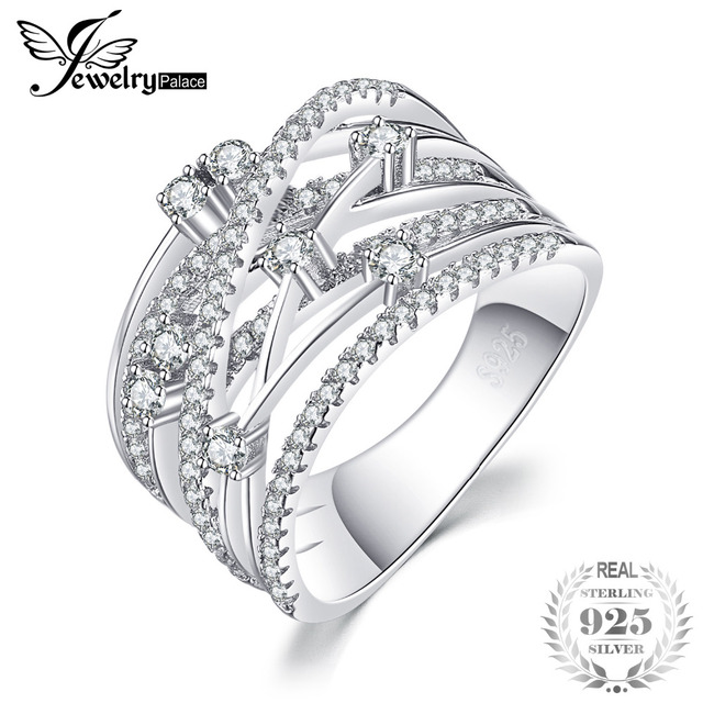 JewelryPalace Luxurious Round Wide Band Cocktail Ring For Women Genuine 925 Ster