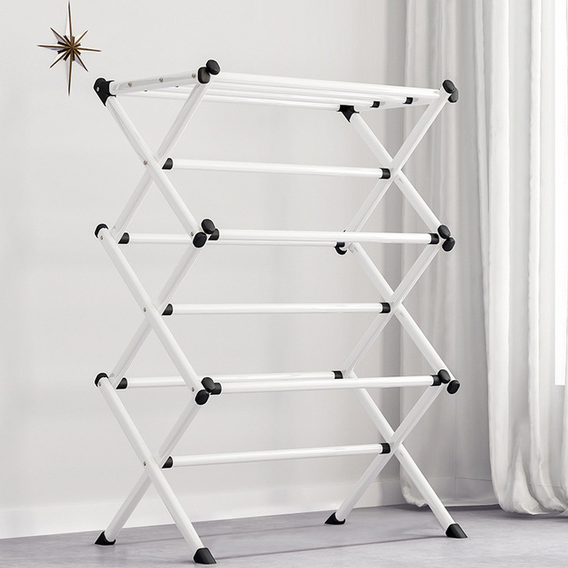 Simple Metal Coat Rack Folding Paiting Iron Fashion Clothing Drying Rack Towel Shelf Detachable Portable Home Storage Rack 3