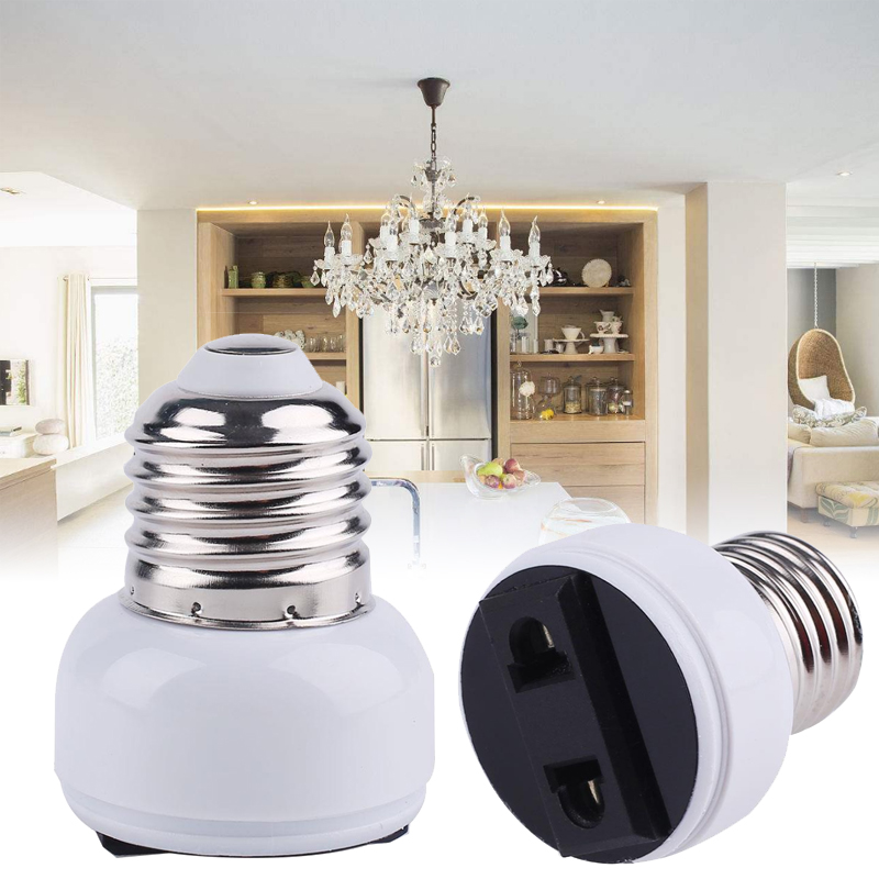E27 Lamp Socket Accessories US/EU Plug Lamp Base Connector Screw Bulb Light Holder White Household Supply Converter