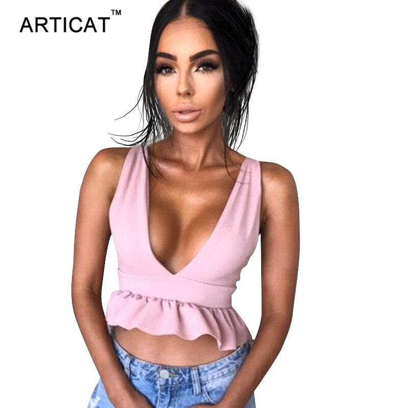 Articat Summer Ruffles Crop Top Women 2017 Sexy Deep V Neck Backless Tank Top Cropped Feminino Party Tops Camisole Haut Femme