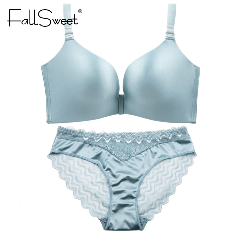 FallSweet Sexy Lace Back   Bra     Set   Lingerie   Set   Unlined Wire Free Underwear   Set   for Women A B cup 32 34 36 38