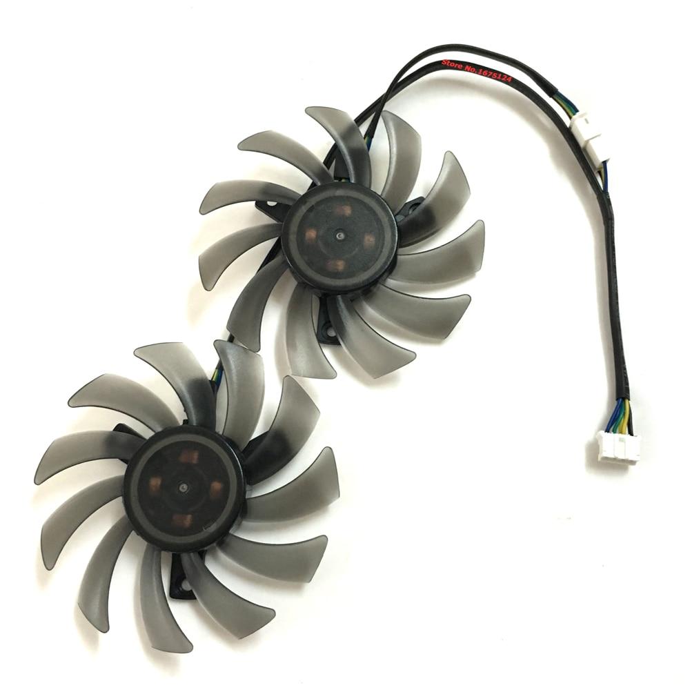 2 unids/lote vídeo VGA tarjetas gpu Cooler 75mm ventilador para ASUS DUAL GTX 1050Ti GTX950 GTX1060 GTX1050ti GTX 1060/950 ventilador de gráficos